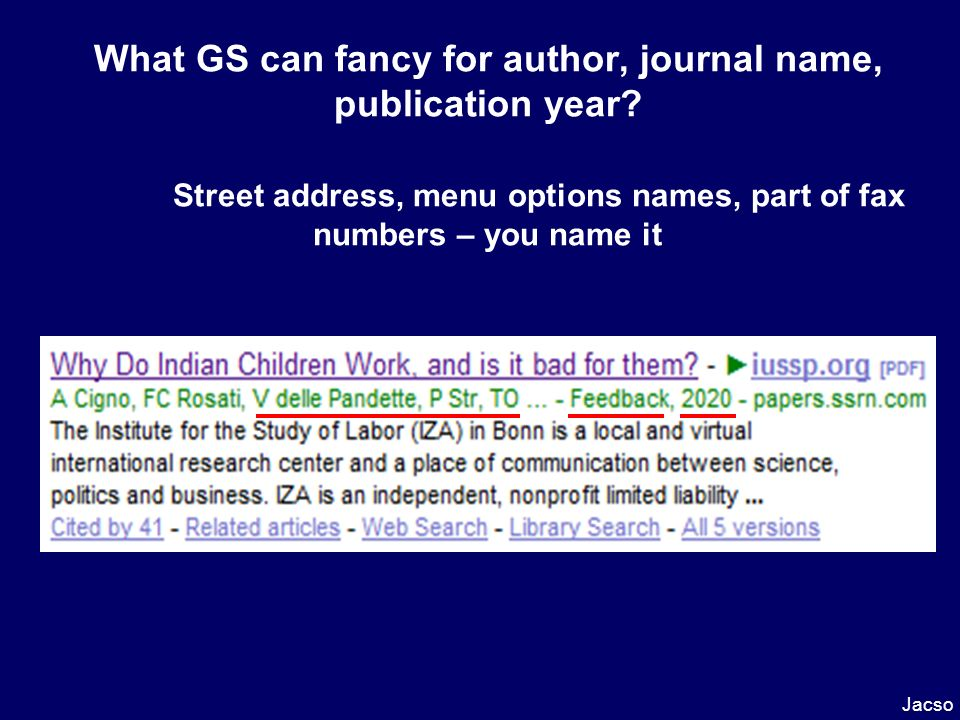 Jacso What GS can fancy for author, journal name, publication year.
