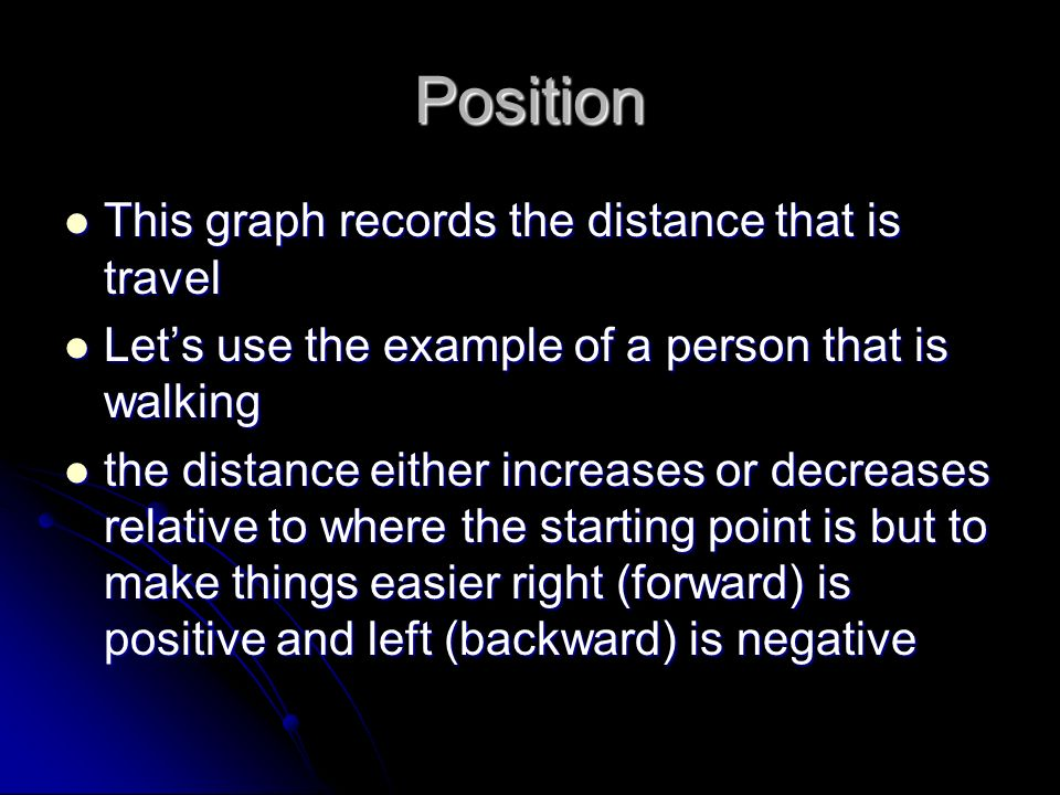Position This graph records the distance that is travel This graph records the distance that is travel Lets use the example of a person that is walkin