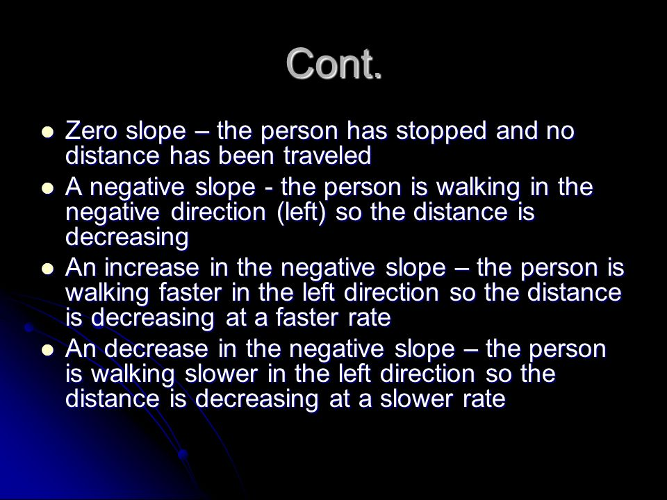 Cont. Zero slope – the person has stopped and no distance has been traveled Zero slope – the person has stopped and no distance has been traveled A ne
