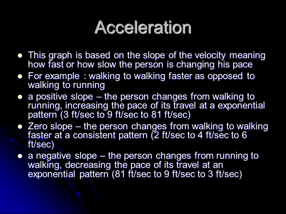 Acceleration This graph is based on the slope of the velocity meaning how fast or how slow the person is changing his pace This graph is based on the