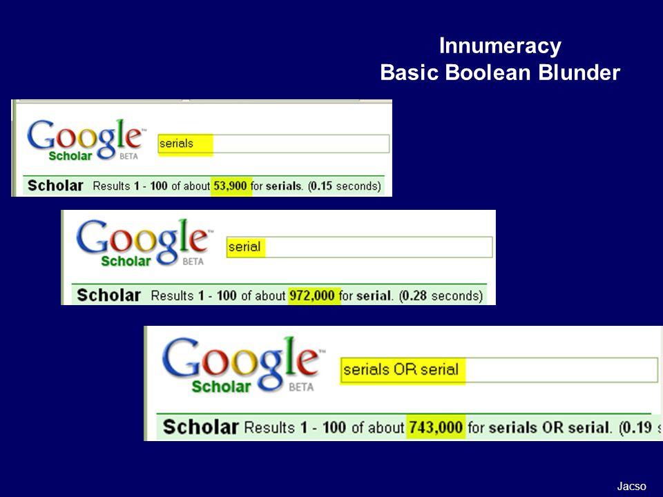 Innumeracy Basic Boolean Blunder