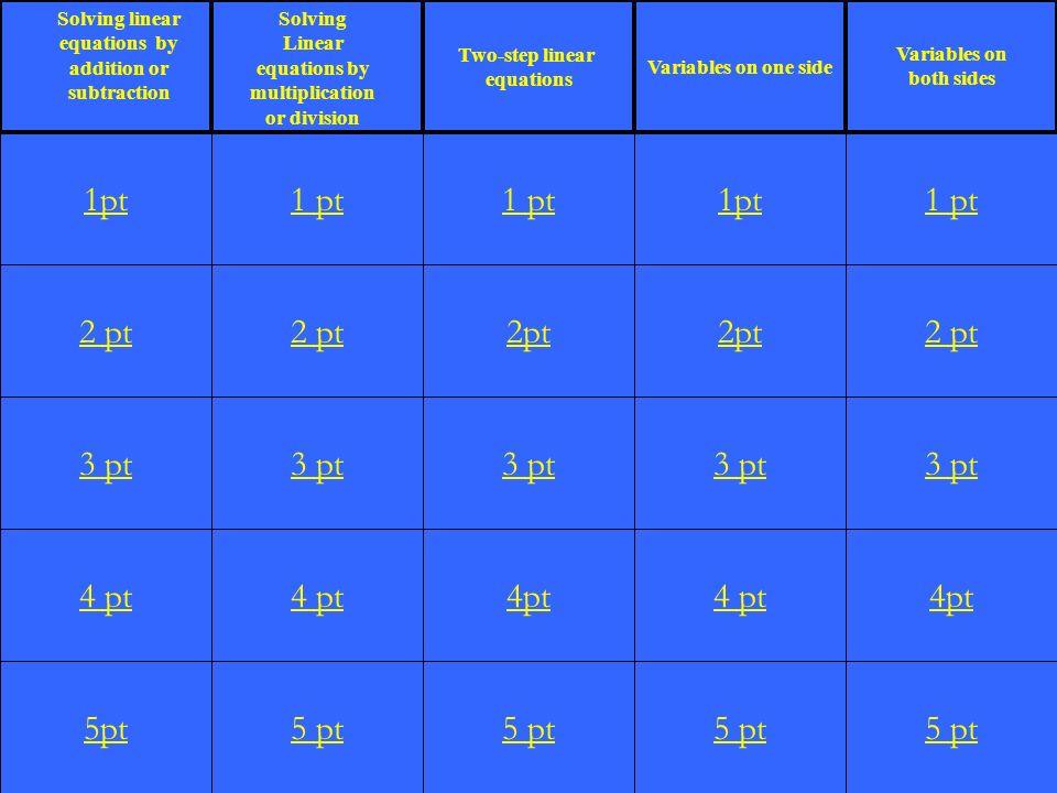 2 pt 3 pt 4 pt 5pt 1 pt 2 pt 3 pt 4 pt 5 pt 1 pt 2pt 3 pt 4pt 5 pt 1pt 2pt 3 pt 4 pt 5 pt 1 pt 2 pt 3 pt 4pt 5 pt 1pt Two-step linear equations Variab