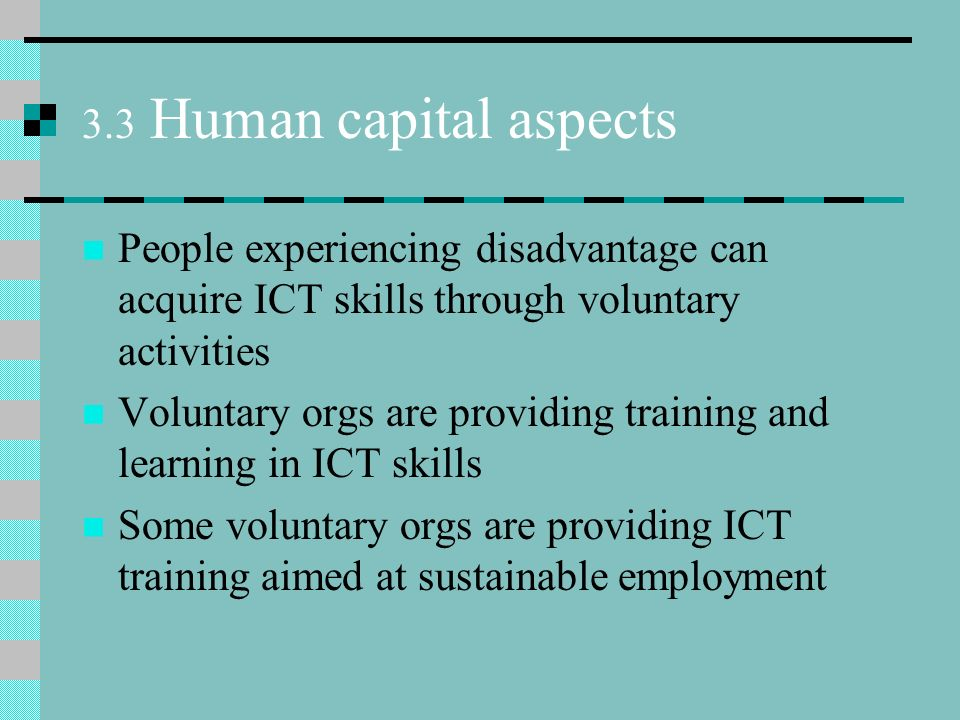 3.3 Human capital aspects People experiencing disadvantage can acquire ICT skills through voluntary activities Voluntary orgs are providing training and learning in ICT skills Some voluntary orgs are providing ICT training aimed at sustainable employment