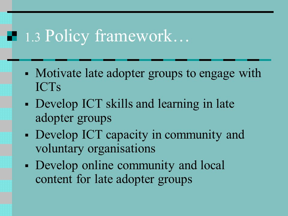 1.3 Policy framework… Motivate late adopter groups to engage with ICTs Develop ICT skills and learning in late adopter groups Develop ICT capacity in community and voluntary organisations Develop online community and local content for late adopter groups