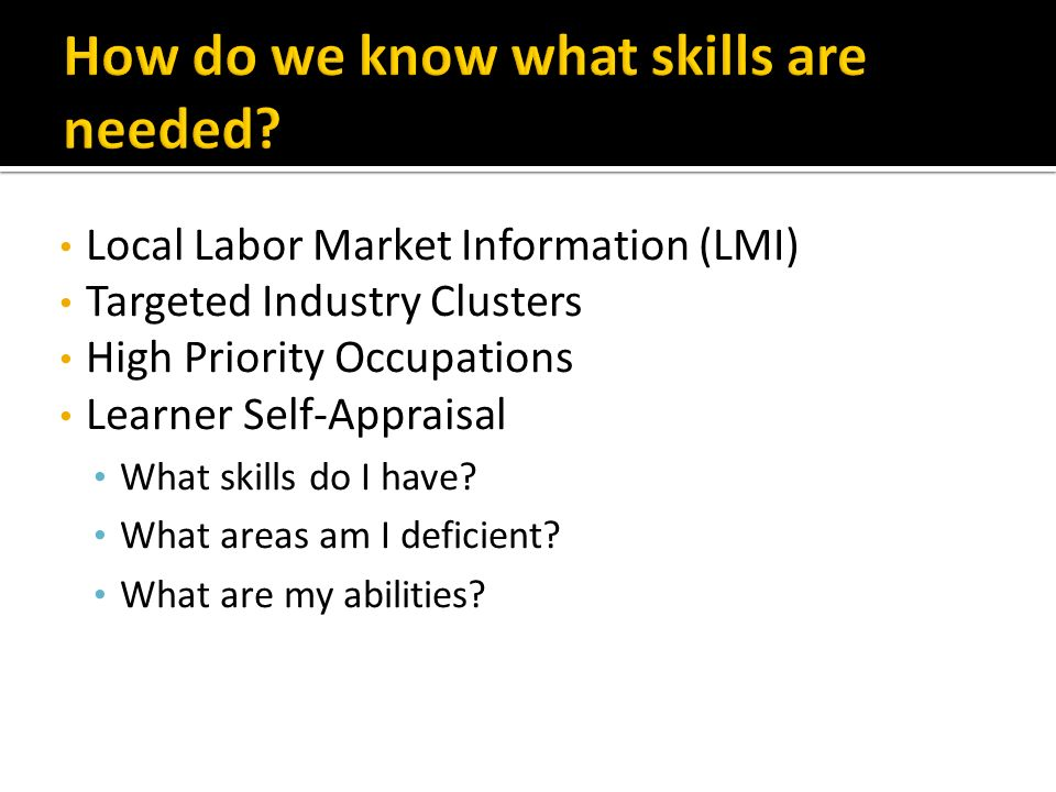 Local Labor Market Information (LMI) Targeted Industry Clusters High Priority Occupations Learner Self-Appraisal What skills do I have.