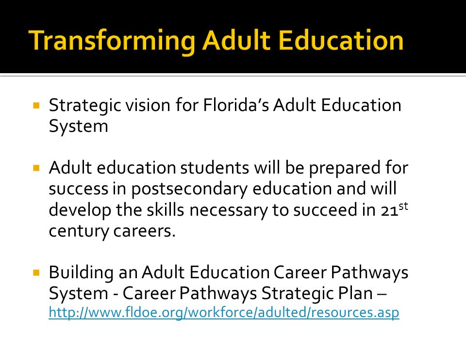 Strategic vision for Floridas Adult Education System Adult education students will be prepared for success in postsecondary education and will develop the skills necessary to succeed in 21 st century careers.