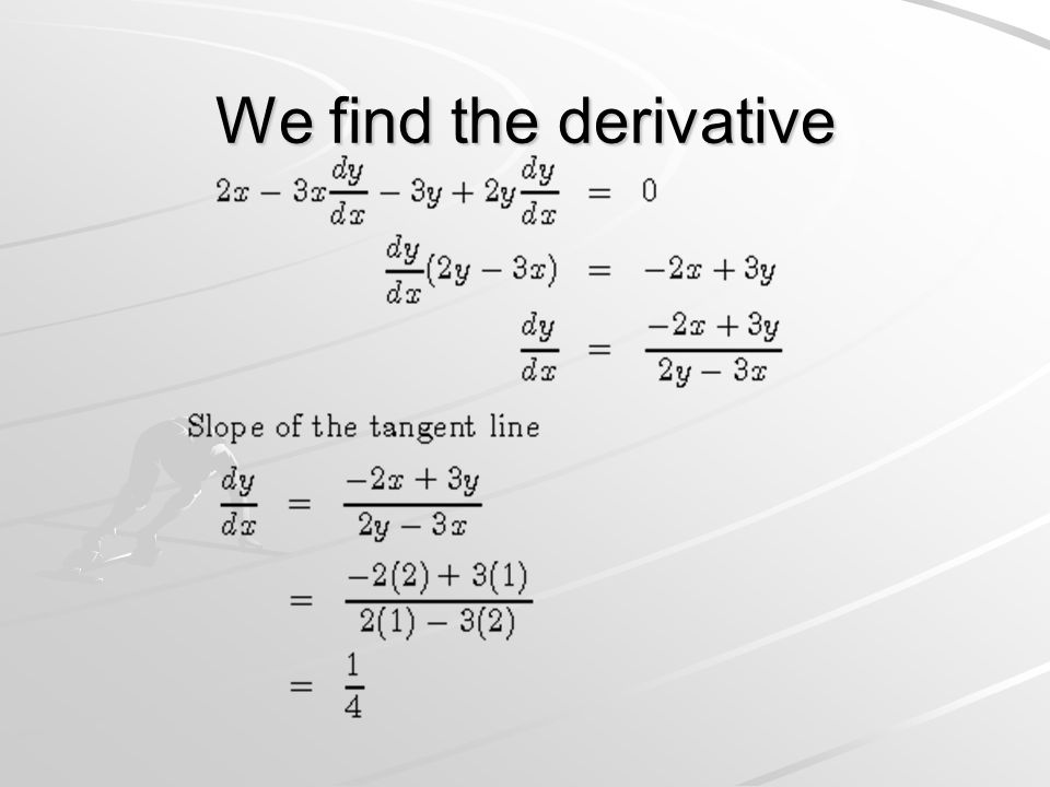 We find the derivative