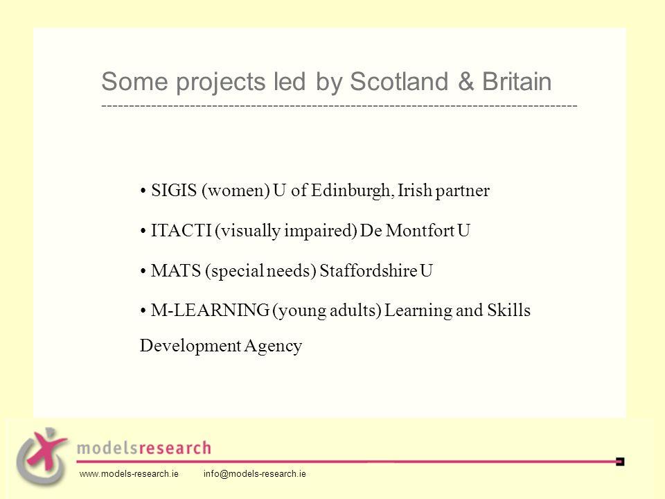 SIGIS (women) U of Edinburgh, Irish partner ITACTI (visually impaired) De Montfort U MATS (special needs) Staffordshire U M-LEARNING (young adults) Le