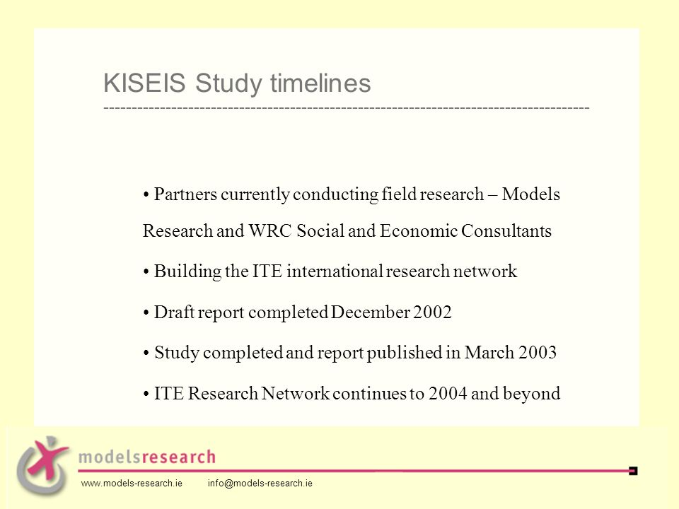 Partners currently conducting field research – Models Research and WRC Social and Economic Consultants Building the ITE international research network Draft report completed December 2002 Study completed and report published in March 2003 ITE Research Network continues to 2004 and beyond KISEIS Study timelines -------------------------------------------------------------------------------------- www.models-research.ie info@models-research.ie