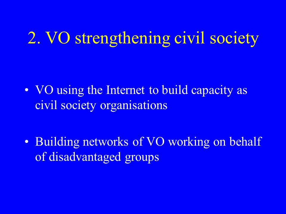 2. VO strengthening civil society VO using the Internet to build capacity as civil society organisations Building networks of VO working on behalf of