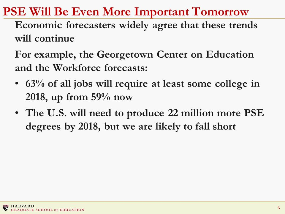 6 PSE Will Be Even More Important Tomorrow Economic forecasters widely agree that these trends will continue For example, the Georgetown Center on Education and the Workforce forecasts: 63% of all jobs will require at least some college in 2018, up from 59% now The U.S.