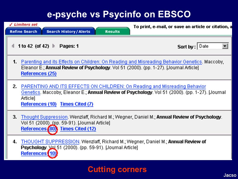 e-psyche vs Psycinfo on EBSCO Jacso Cutting corners