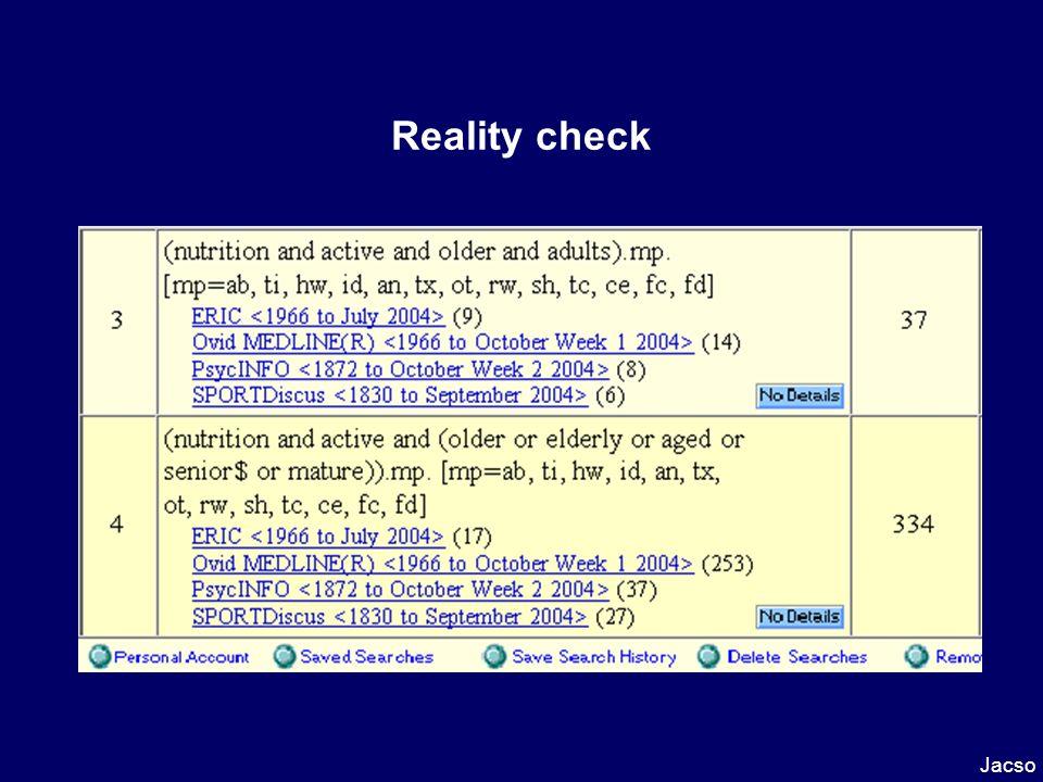 Reality check Jacso