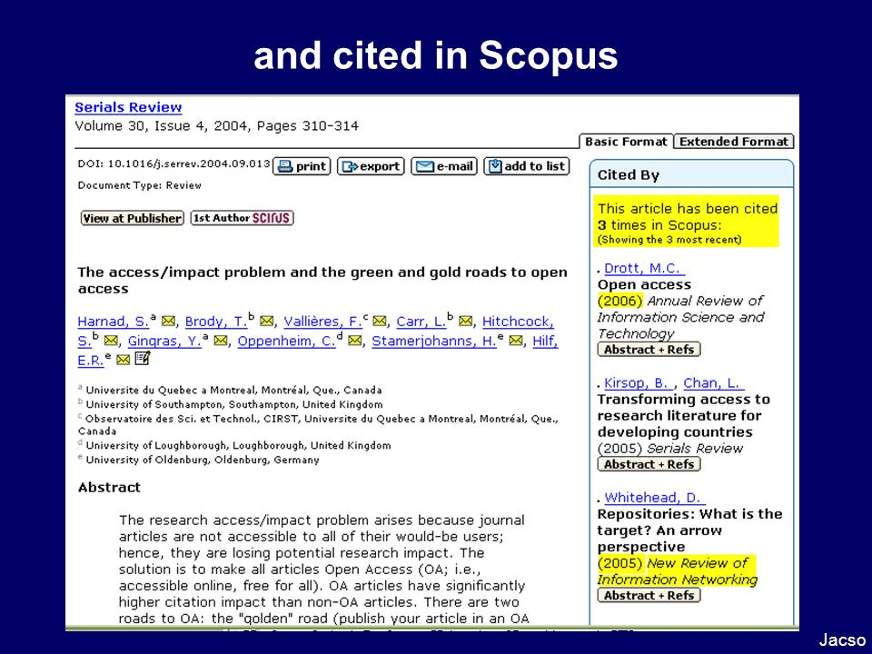 and cited in Scopus Jacso