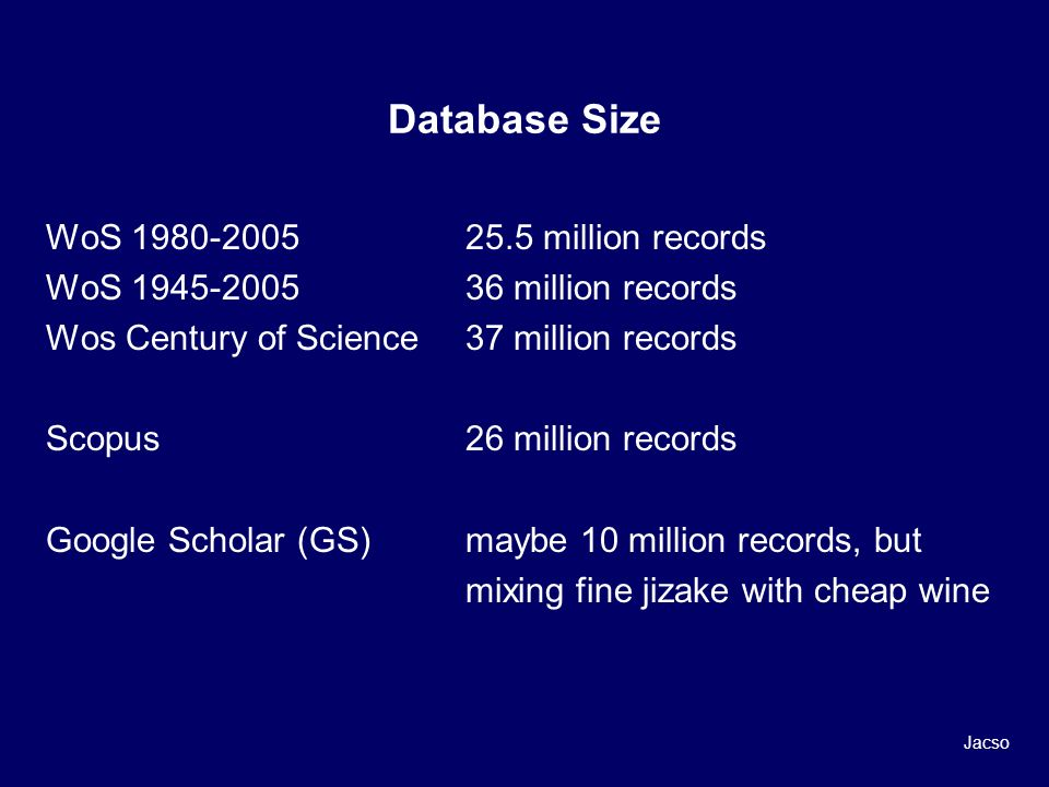 Database Size WoS 1980-2005 25.5 million records WoS 1945-200536 million records Wos Century of Science 37 million records Scopus26 million records Google Scholar (GS)maybe 10 million records, but mixing fine jizake with cheap wine Jacso