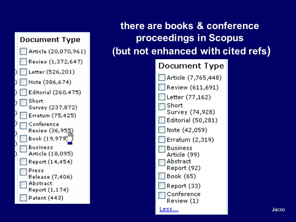there are books & conference proceedings in Scopus (but not enhanced with cited refs ) Jacso