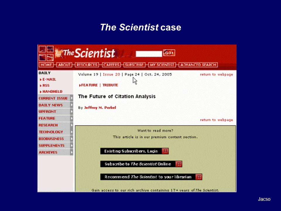 The Scientist case Jacso