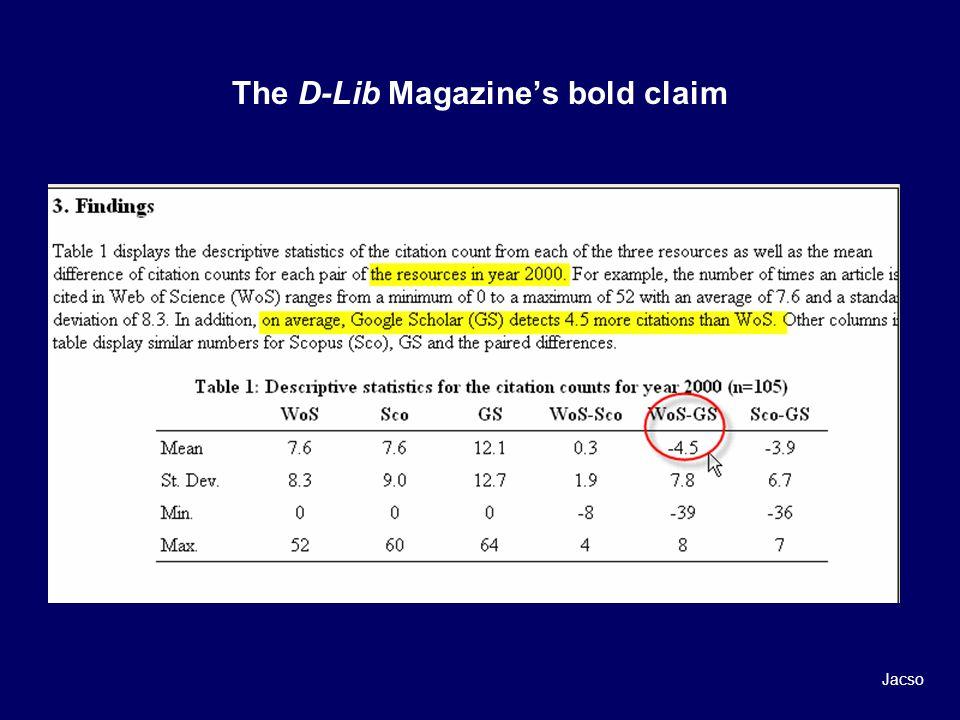 The D-Lib Magazines bold claim Jacso