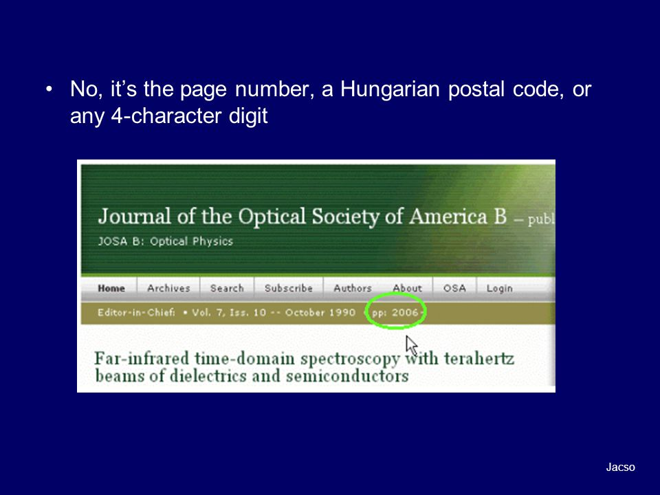 No, its the page number, a Hungarian postal code, or any 4-character digit Jacso