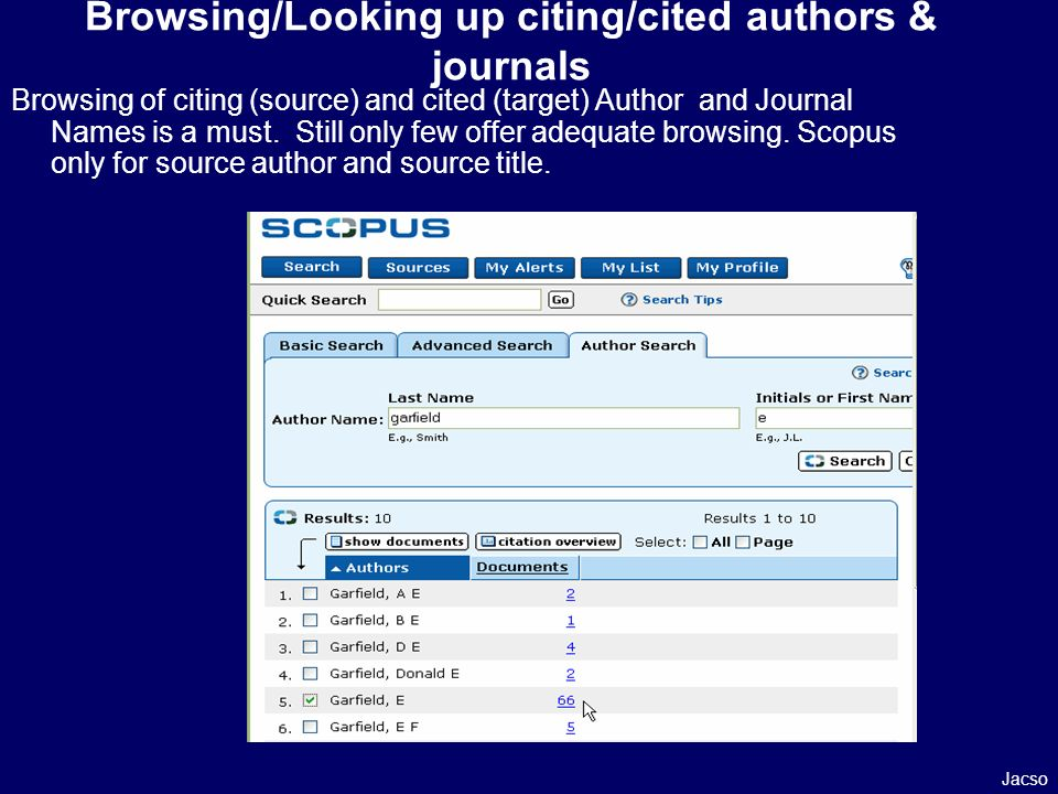 Browsing of citing (source) and cited (target) Author and Journal Names is a must.