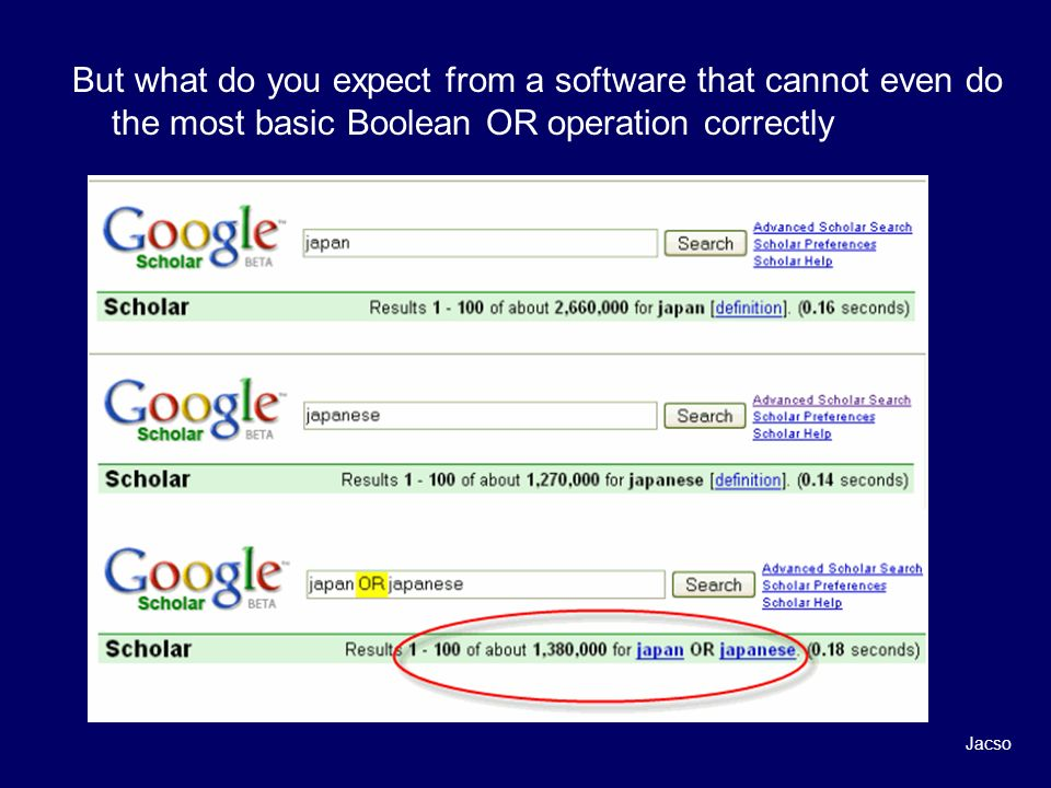 But what do you expect from a software that cannot even do the most basic Boolean OR operation correctly Jacso