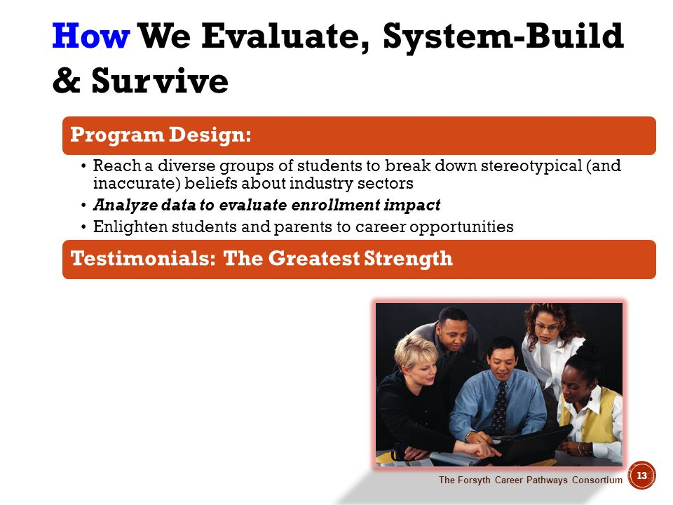 The Forsyth Career Pathways Consortium 13 How We Evaluate, System-Build & Survive Program Design: Reach a diverse groups of students to break down ste