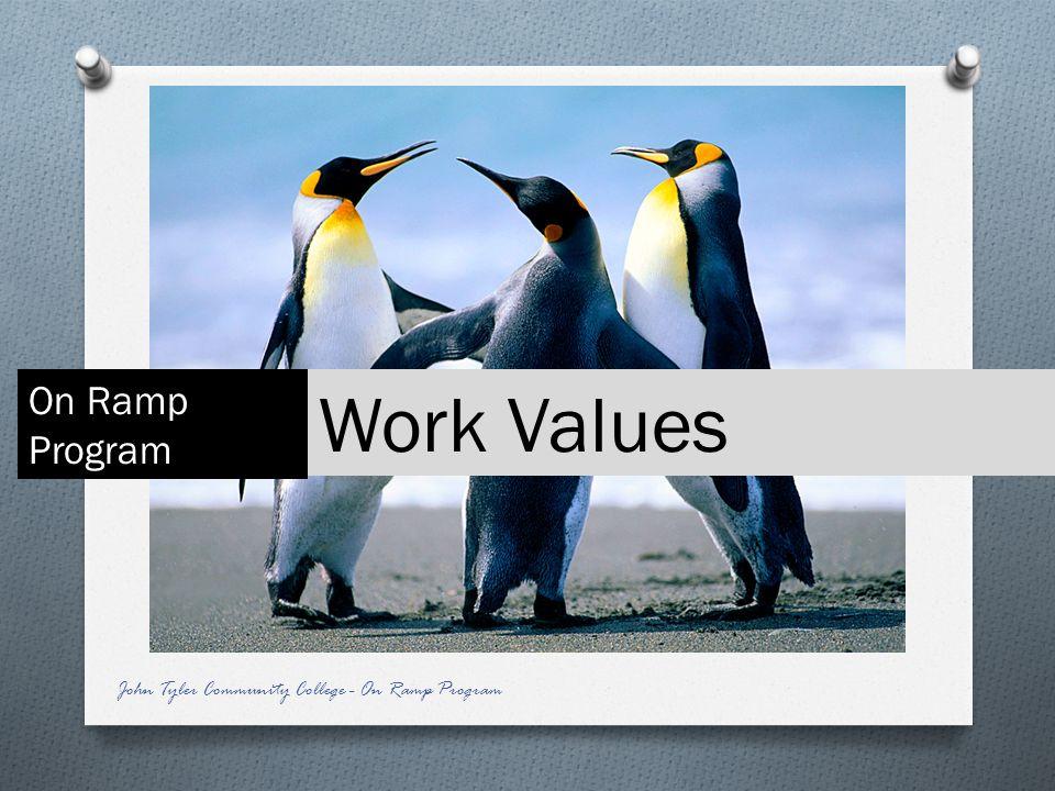 Work Values On Ramp Program John Tyler Community College - On Ramp Program