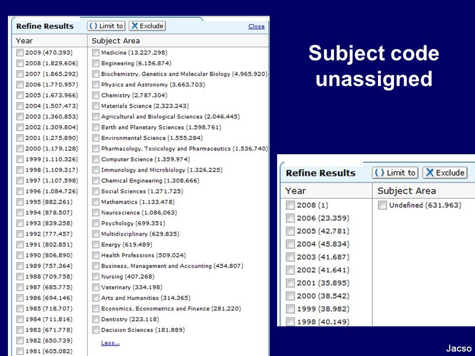 Subject code unassigned Jacso Scopus