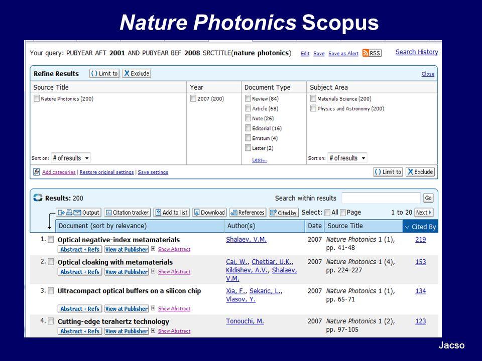 Nature Photonics Scopus Jacso