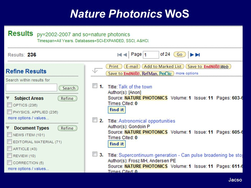 Nature Photonics WoS Jacso