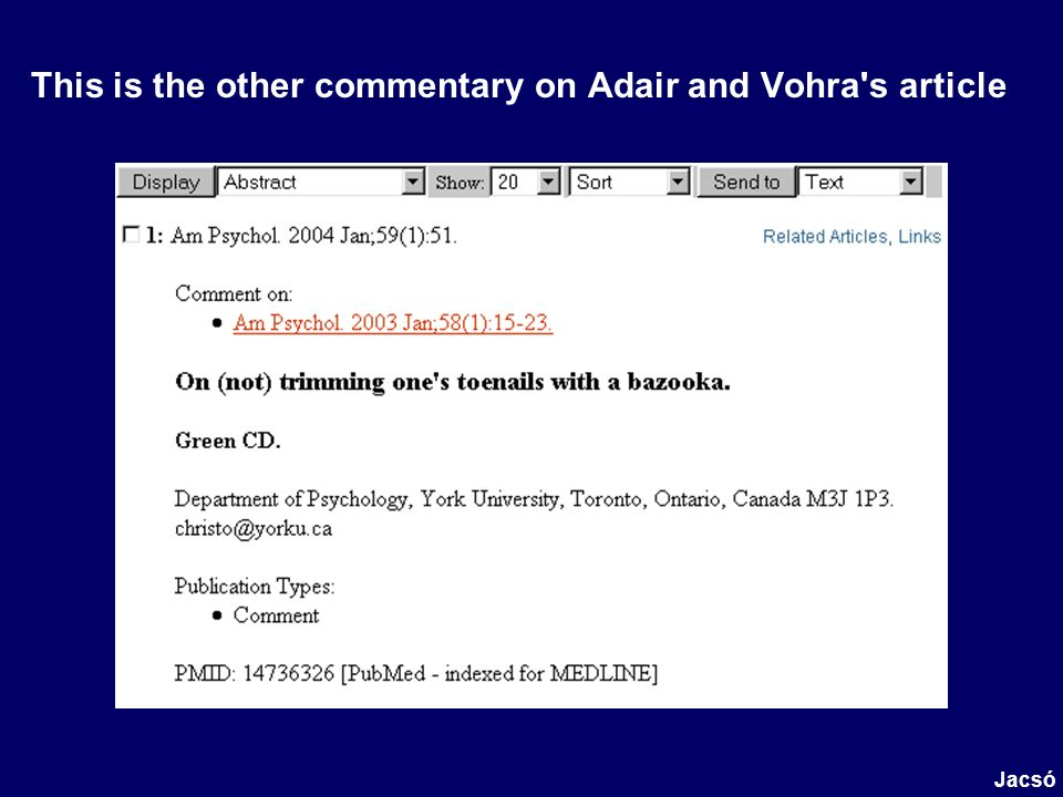 This is the other commentary on Adair and Vohra's article Jacsó