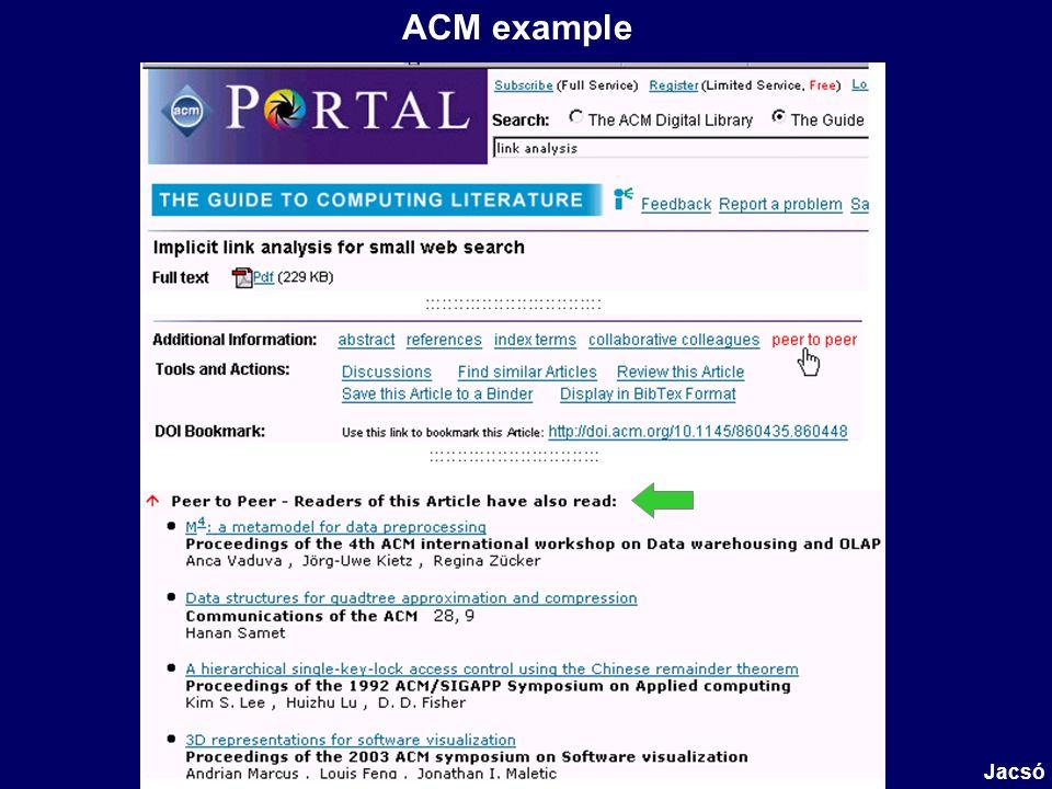 ACM example Jacsó