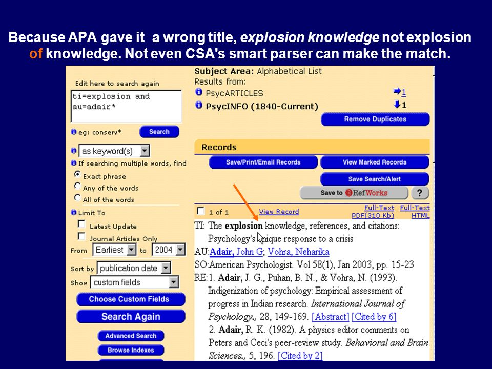Because APA gave it a wrong title, explosion knowledge not explosion of knowledge. Not even CSA's smart parser can make the match.