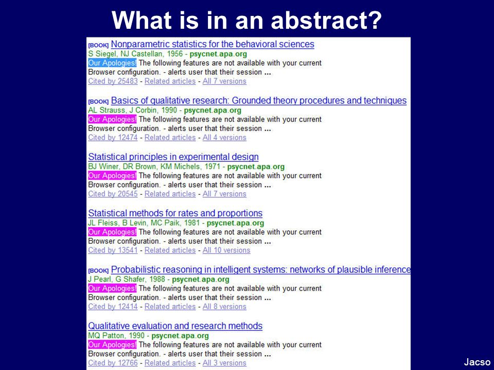 What is in an abstract Jacso