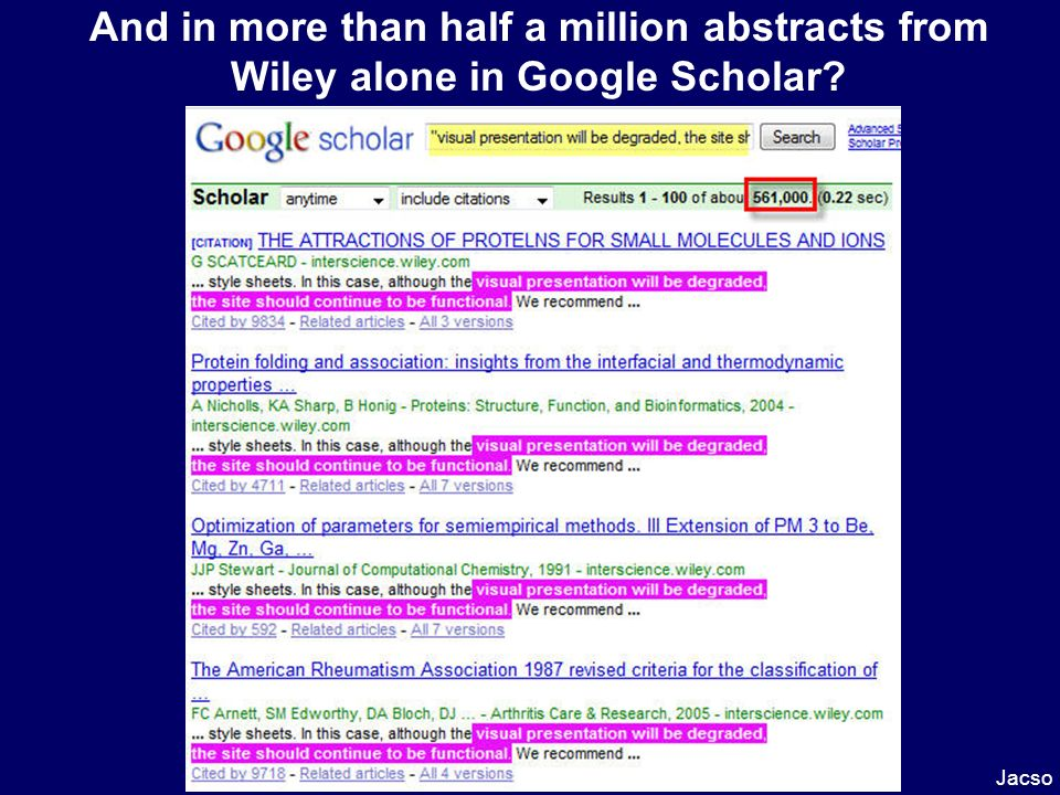 And in more than half a million abstracts from Wiley alone in Google Scholar Jacso