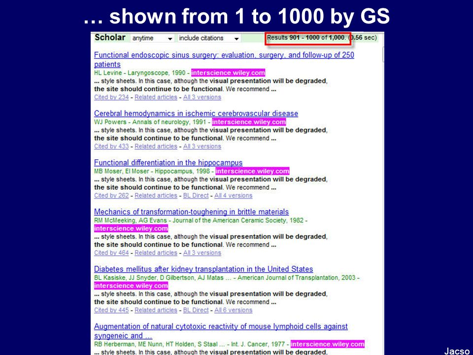 … shown from 1 to 1000 by GS Jacso