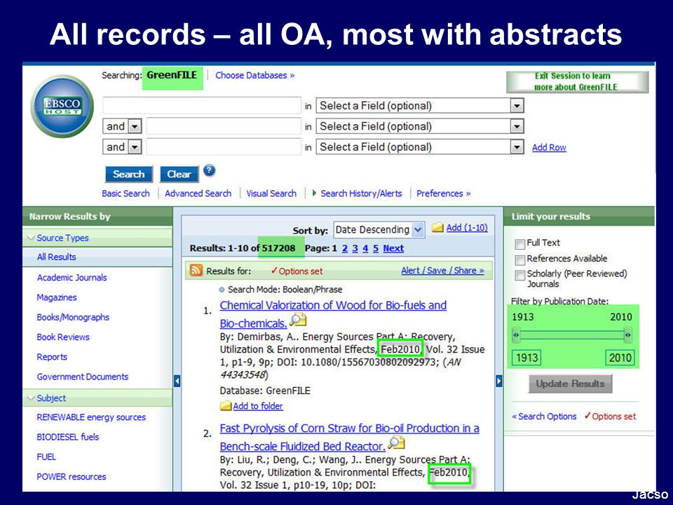 All records – all OA, most with abstracts Jacso