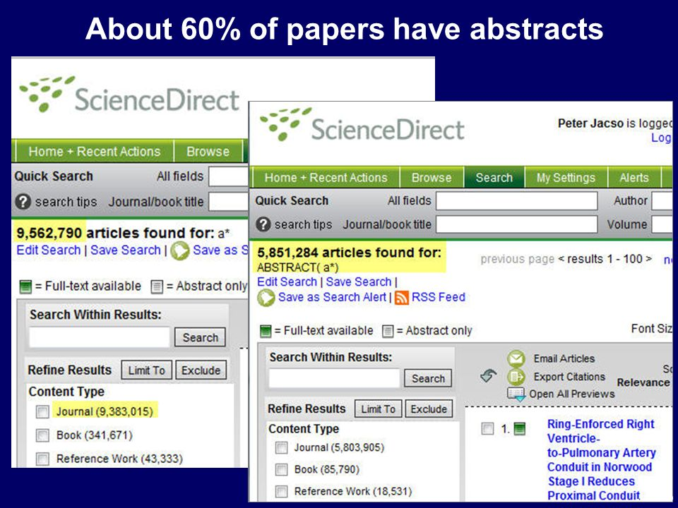 About 60% of papers have abstracts Jacso