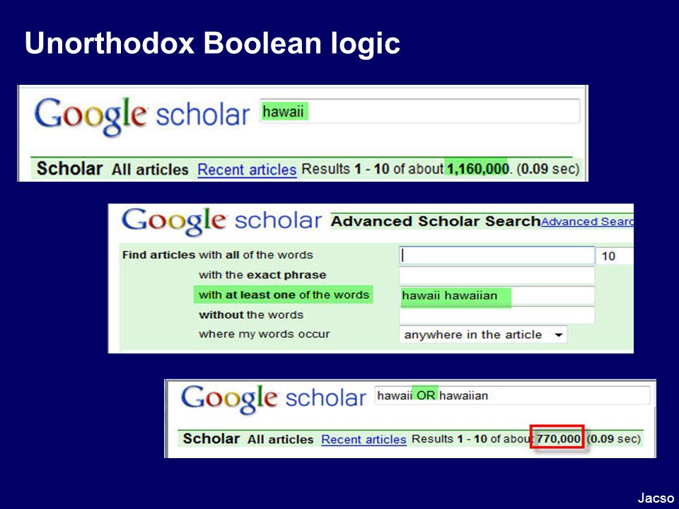 Unorthodox Boolean logic Jacso