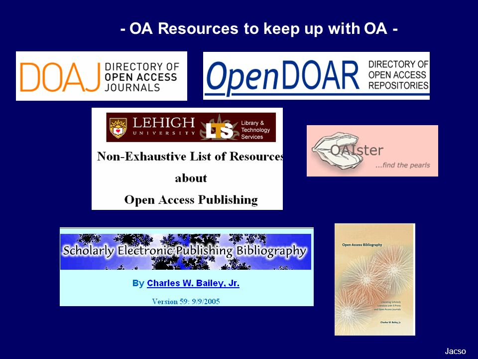 - OA Resources to keep up with OA - Jacso