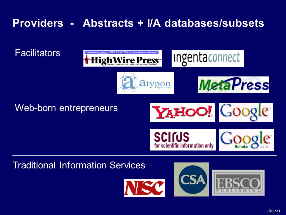 Providers - Abstracts + I/A databases/subsets Facilitators Web-born entrepreneurs Traditional Information Services Jacso