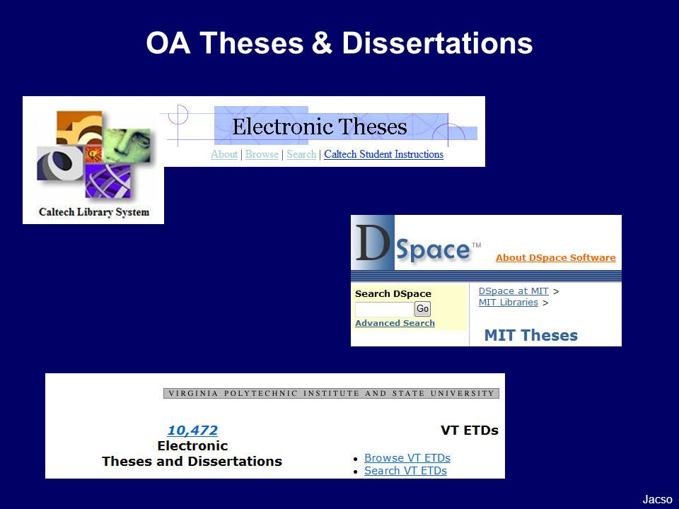 OA Theses & Dissertations Jacso