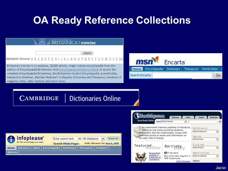OA Ready Reference Collections Jacso