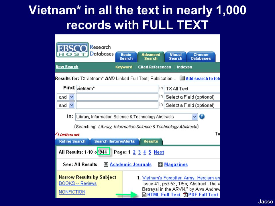 Vietnam* in all the text in nearly 1,000 records with FULL TEXT Jacso