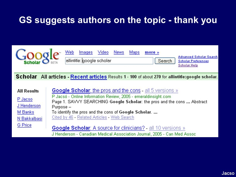 GS suggests authors on the topic - thank you Jacso