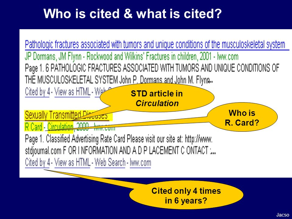 Who is cited & what is cited. Who is R. Card. Cited only 4 times in 6 years.