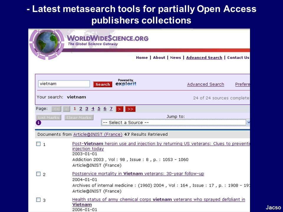 - Latest metasearch tools for partially Open Access publishers collections Jacso