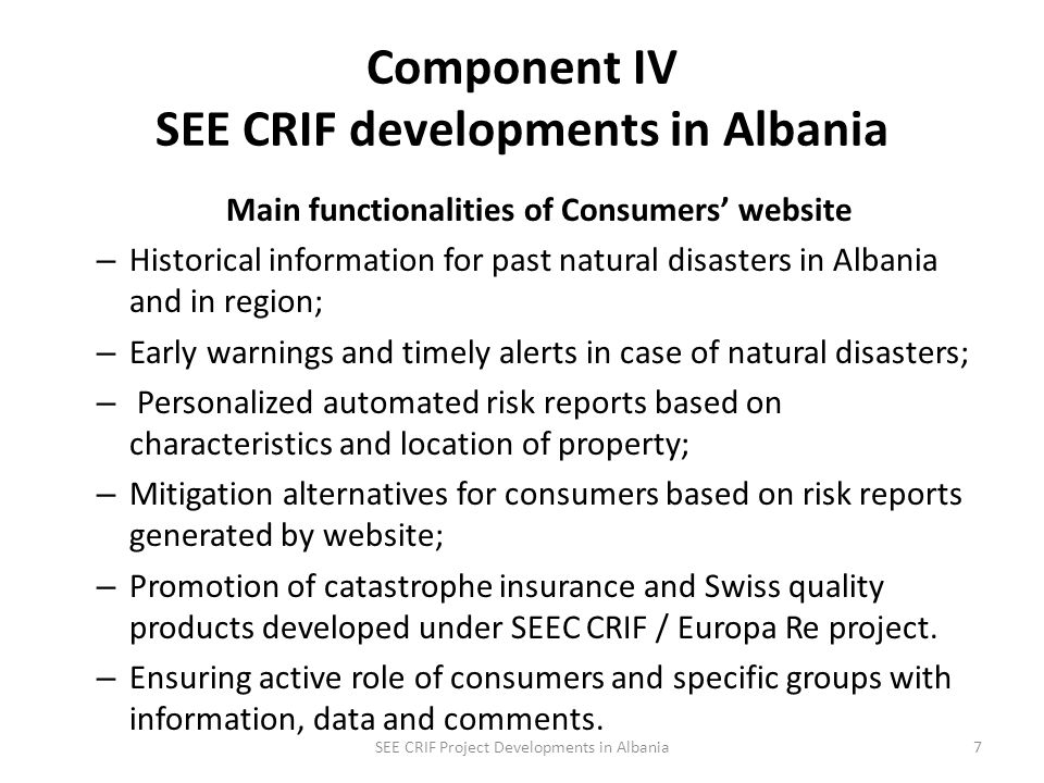 Component IV SEE CRIF developments An interactive website was developed under DRMAP / CRIF project to increase public awareness and education on impacts of natural disasters.