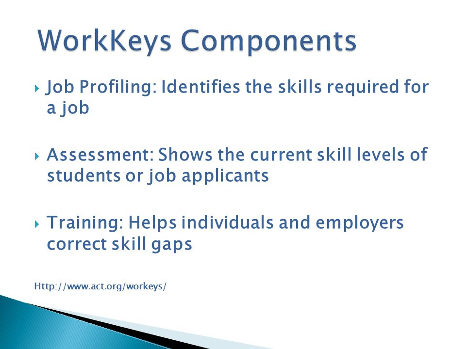 Job Profiling: Identifies the skills required for a job Assessment: Shows the current skill levels of students or job applicants Training: Helps indiv