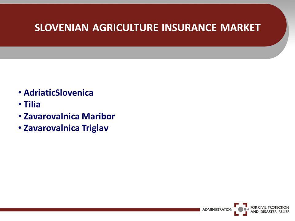 SLOVENIAN AGRICULTURE INSURANCE MARKET AdriaticSlovenica Tilia Zavarovalnica Maribor Zavarovalnica Triglav